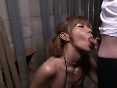sumire matsu on her knees begging for his cum