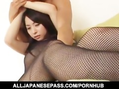 yuka osawa in fishnet body costume has her milk