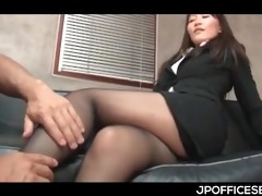 delightful asian secretary exposed and teased by