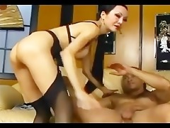 lengthy haired oriental has sex in nylons garter