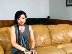 tattooed oriental nanny screwed on sofa