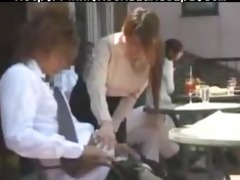 cute japanese waitress gives handjob in crowded