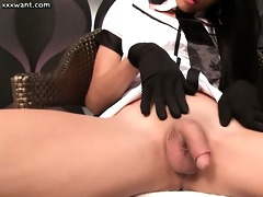 hawt t-girl in uniform touching