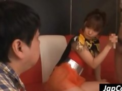 perverted youthful japanese cheerleader jerks and
