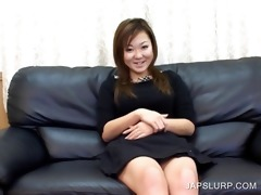 cheerful japanese bitch having joy