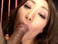 japanese babe gives noisy blow job and receives a
